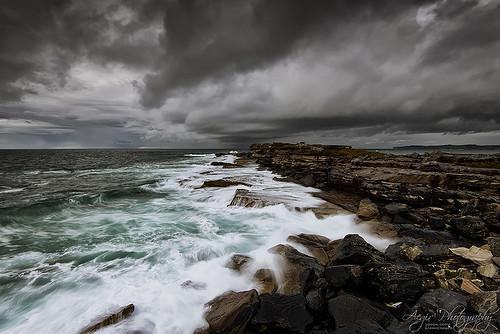 ocean seascape storm clouds sunrise landscape dawn coast rocks waves sydney australia cape swell banks