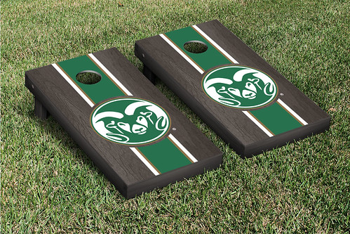 Colorado State University Rams Cornhole Game Set Onyx Stained Striped Wooden