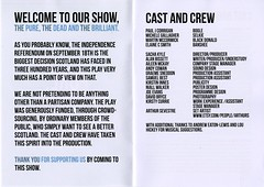 Programme for play 'The Pure, the Dead, and the Brilliant' by Alan Bissett, and performed during the Edinburgh Fringe
