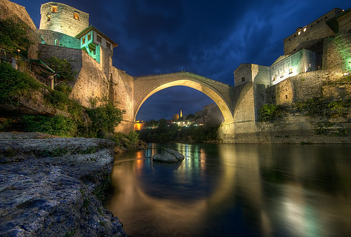 city longexposure travel reflection architecture night clouds river photography rocks europe mostar unesco historical bluehour balkans humpback oldtown neretva starimost oldbridge bosniaandherzegovin