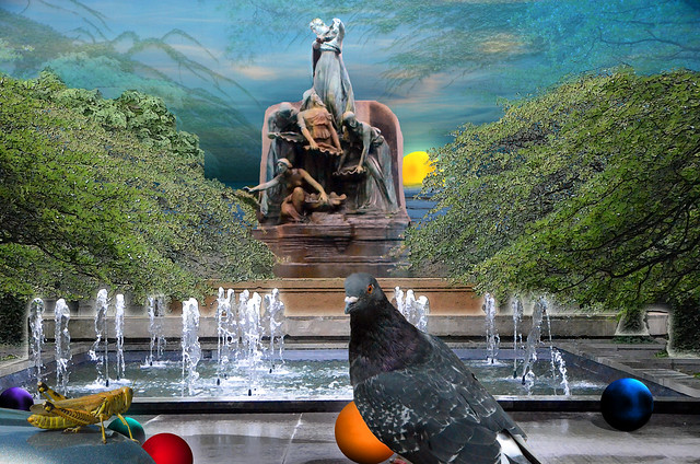 Pigeon, Seascape, Balls and the Art Institute of Chicago Courtyard, August 5, 2014 22-12 bpx