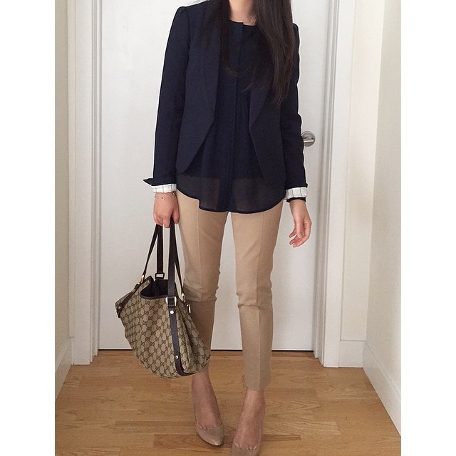 Thursday #ootd: LOFT blazer (last year), Banana Republic blouse (old) and Sloan ankle pants, J.Crew pumps which I swapped out for flats and Gucci tote (very old, from 2007).