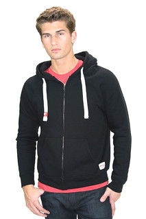 Triblend Zip-Up Sweatshirt Hooded Black