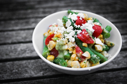 Summer Veg Salad with Tomatillo Dressing