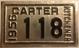 KITCHENER ONTARIO 1956--- CARTER SUPPLEMENTAL PLATE
