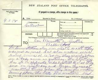 Waihi Strike Telegrams from Police Commissioner John Cullen, 9 November 1912 (1 of 5)