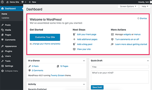 Xóa Bảng Welcome trong WordPress Dashboard