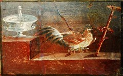 Hen - wall painting (50 AD) from Herculaneum - Naples, Archaeological Museum