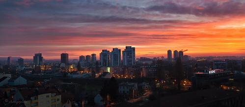 zagreb croatia sunrise travel skyline buildings architecture spring clouds sky panorama dawn urbanscenery urban urbanlandscape rooftop