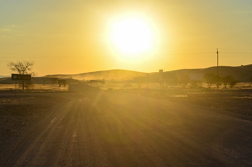 Sunset on desert roads
