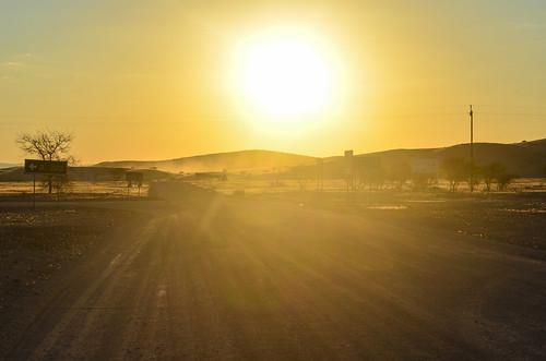 Sunset on desert roads