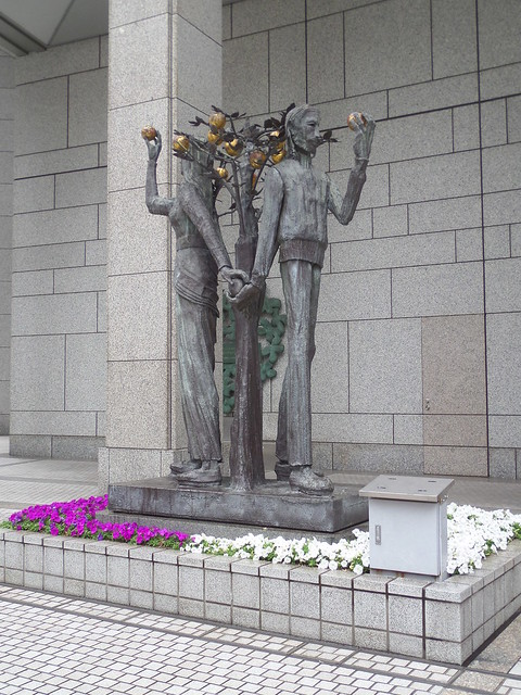 Adam and Eve Sculpture at the Tokyo Metropolitan Building