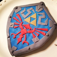 Mason's birthday cake. The Hylian shield from the Legend of Zelda.