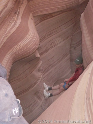 Scrambling through the Zebra Slot, Grand Staircase-Escalante National Monument, Utah