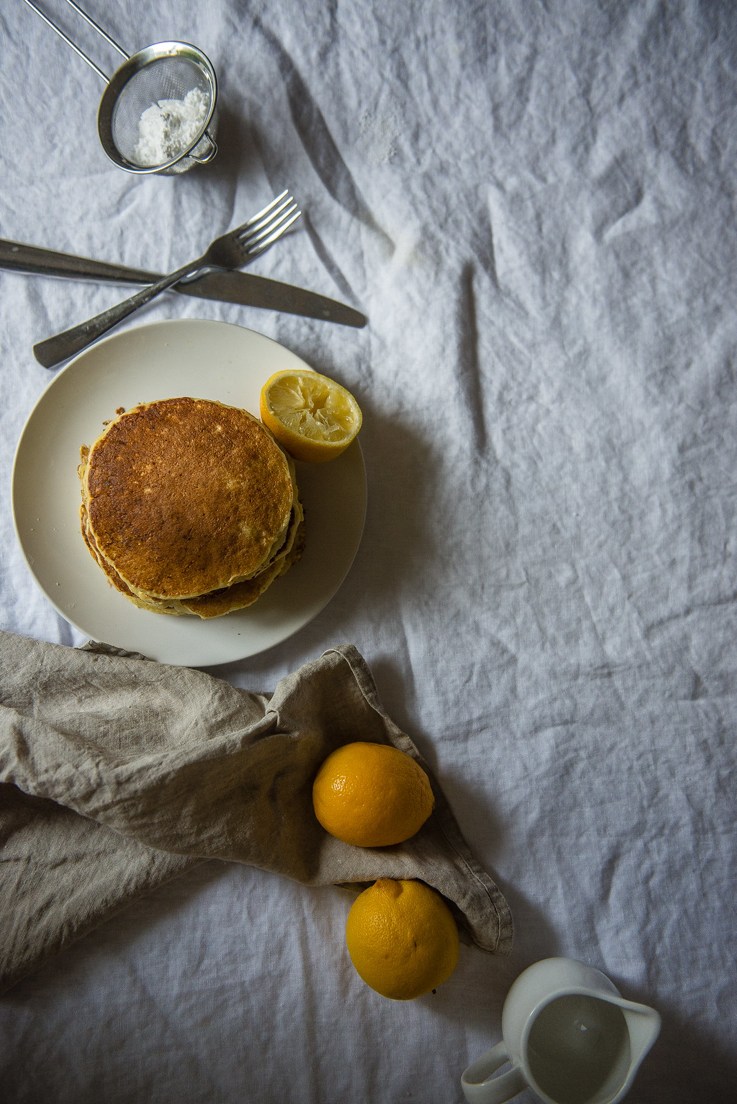Meyer Lemon Ricotta Pancakes, with Chamomile Whip