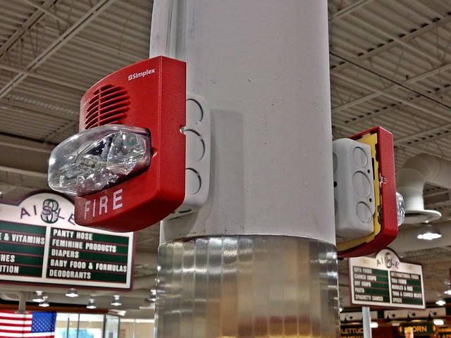 fire alarm at a retail store