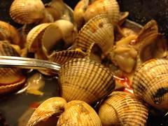 sea snail(0.0), escargot(0.0), animal(1.0), clam(1.0), molluscs(1.0), fish(1.0), seafood(1.0), seashell(1.0), food(1.0), dish(1.0), cockle(1.0), clams, oysters, mussels and scallops(1.0), mussel(1.0),