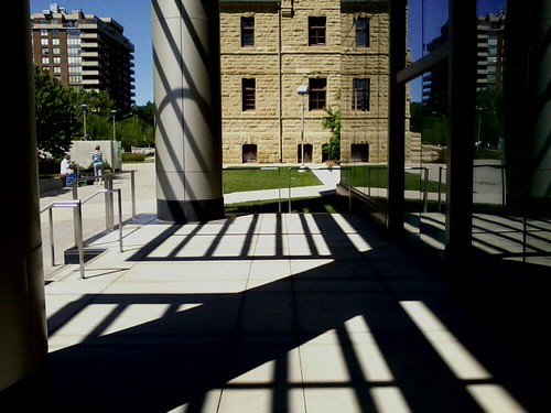 Shadows on terrace, Board of Education building, Calgary