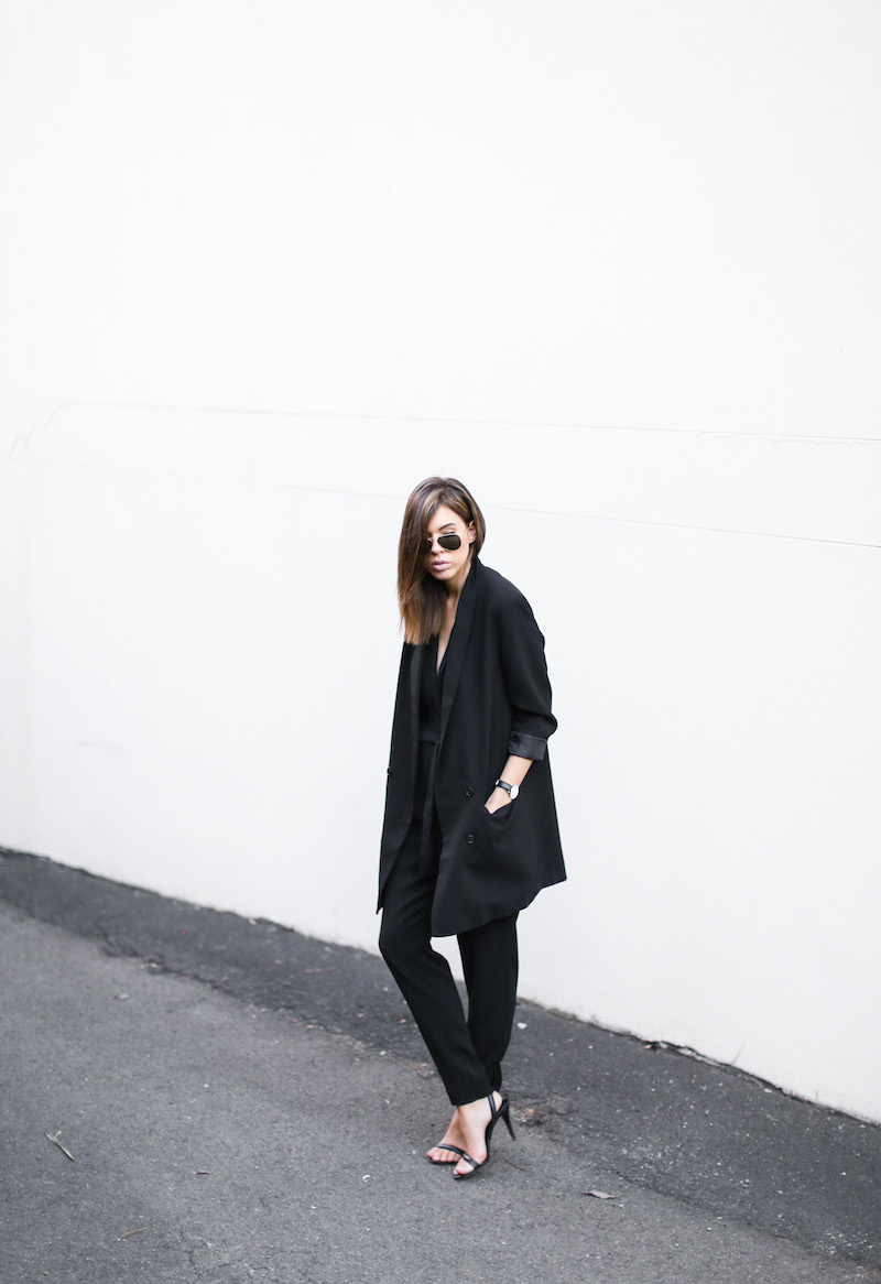 modern legacy fashion blog australia office wear Witchery jumpsuit street style all black Alexander Wang Antonia heels Monki oversized boyfriend blazer  (7 of 8)