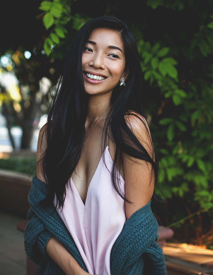Stephanie Liu of Honey & Silk wearing LAST NIGHT, Left On Houston, and Chinese Laundry