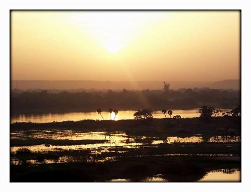 sunset nature niger river landscape cultivations