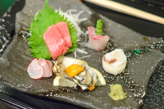 tsukuri otoro, amberjack, sea bass, kumamoto oyster with sea urchin