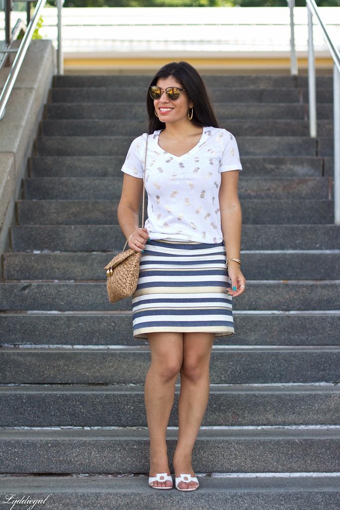 pineapple print tee, striped skirt.jpg