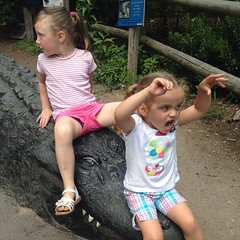"Only one of them heard ""be a #crocodile"".  He looks like the brushed his #teeth.  #beardsleyzoo"