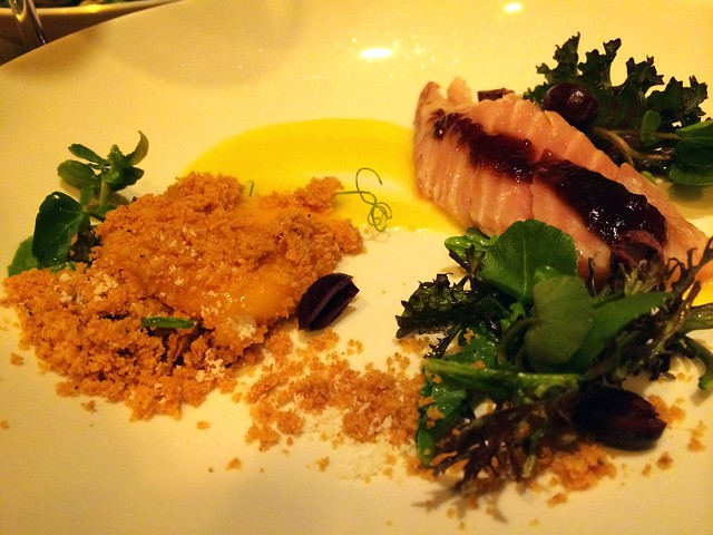Albacore tuna belly, smoked egg yolk