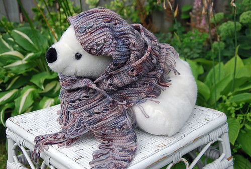 Finished handknit Magical Side to Side Scarf in sustainable Merino yarn by Sheepspot