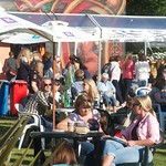 Spiegeltent in the sunshine in Charlotte Square Gardens |