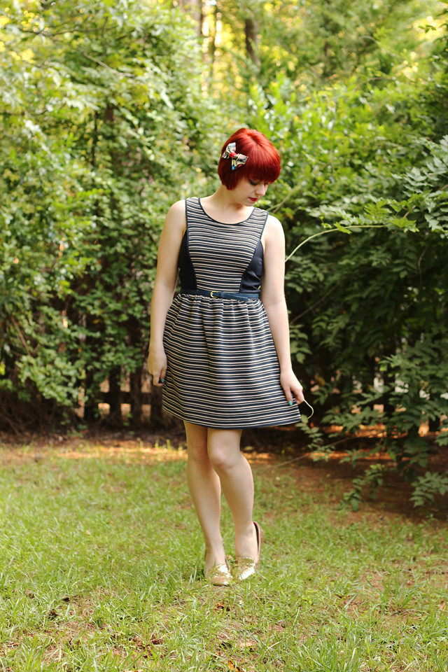 Striped Fit and Flare Modcloth Dress with Gold Loafers and a Superhero Print Bow