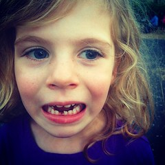 Somebody lost their first #tooth yesterday. She was so excited when the #toothFairy came. #gowingOlder #bigGirl