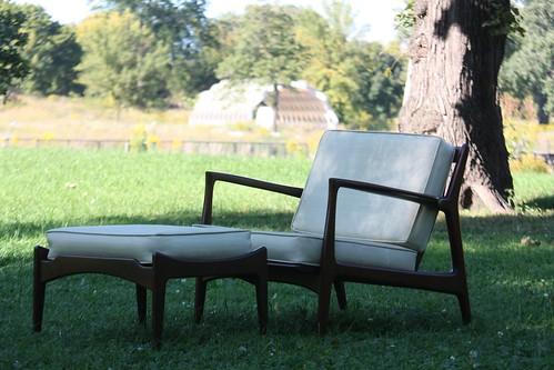 ***SNEAK PEAK***Strutting Ib Kofod Larsen Danish Midcentury Modern Lounge Chair & Ottoman (Denmark, 1960s)