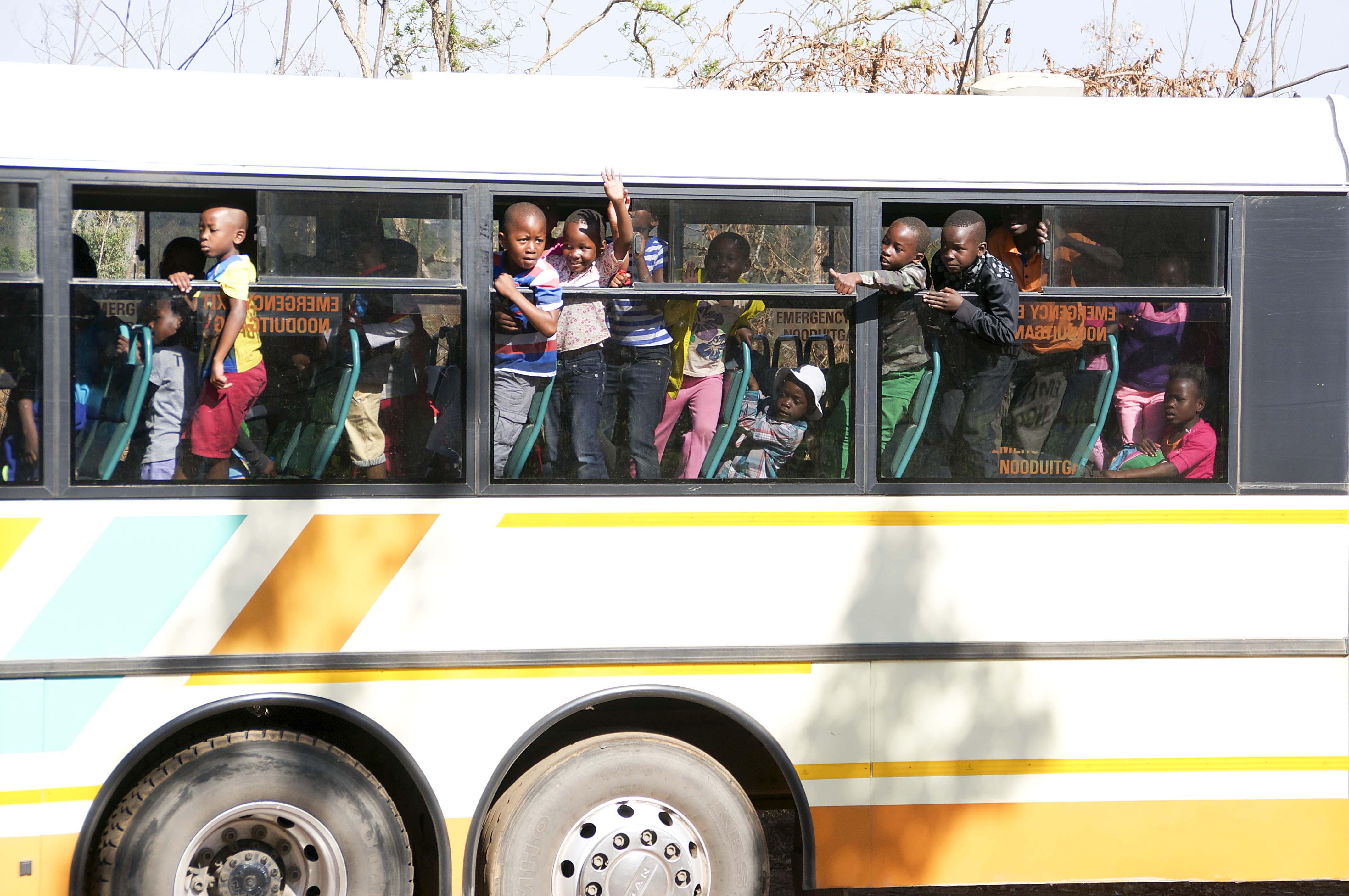 the bus arrives