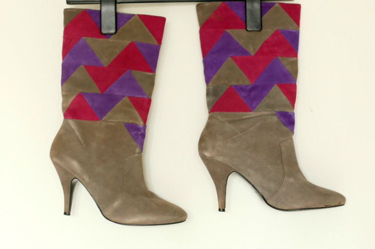 office grijze roze paarse laarzen met hak