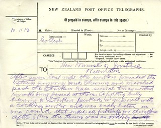 Waihi Strike Telegrams from Police Commissioner John Cullen, 10 November 1912 (1 of 3)