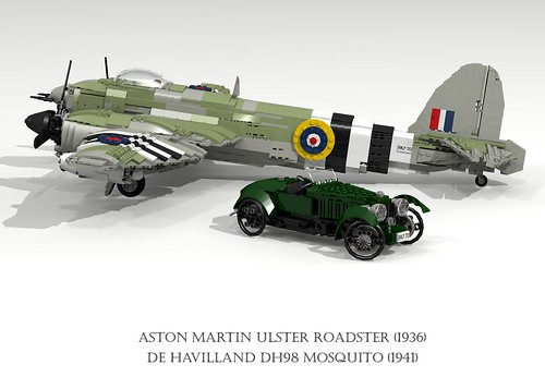 De Havilland DH98 Mosquito (1941) and Aston Martin Ulster Roadster (1936)