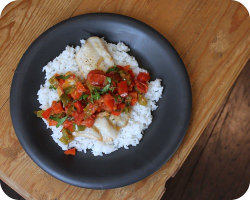 Red Snapper with Bell Pepper and Tomato