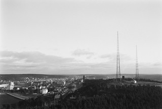 Lahti, radio station and radiomasts, ca. 1935. General view of the town and radio station with two 150 meter self-supporting masts.