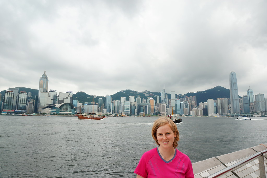 Annemarie in front of Victoria Harbour