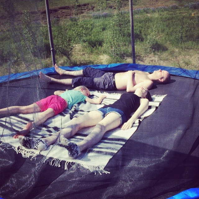 Tanning on a trampoline