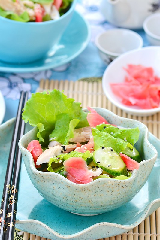 Salad from smoked chicken and cucumbers in Asian style.8