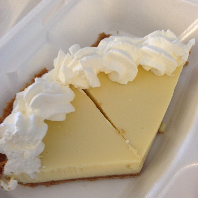 We may be driving back home today, but I have this yummy key lime pie from the Donut Hole to munch on in the car!
