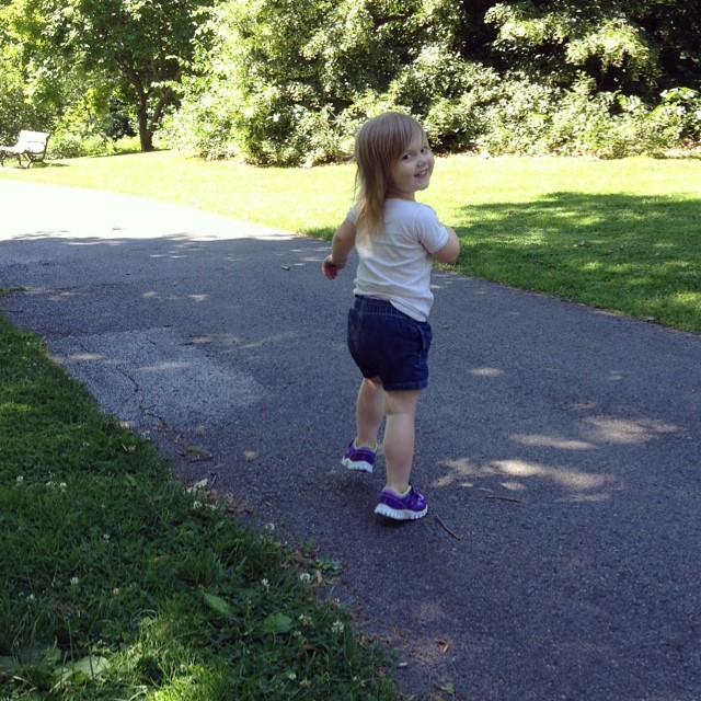 """I'm gonna run away from you, mama!"" (Kiddo, mama used to be a competitive runner. I can catch you!)"