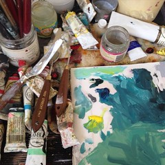 I siting an #artist studio today love the #worktable most amazing mess  #colorpalette
