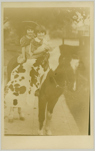 RPPC Two Girls on a Pony