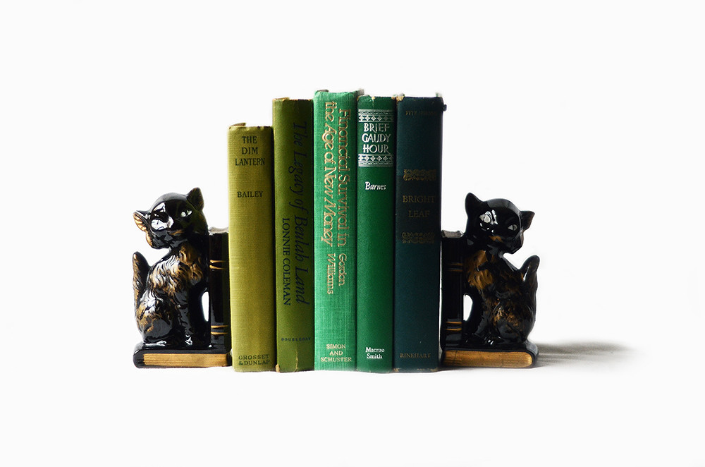 Vintage Japanese Black Cat Bookends