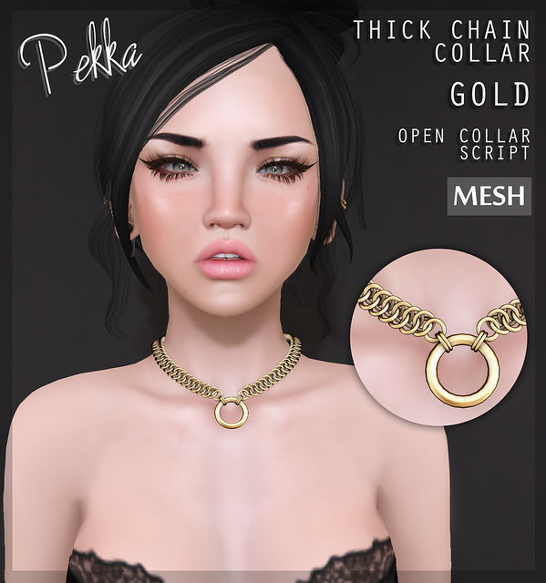Thick chain collar gold