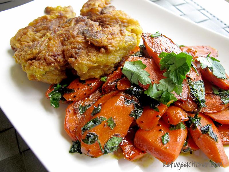 Lemongrass Chicken Fried Quail w/ Hennessy Glazed Carrots